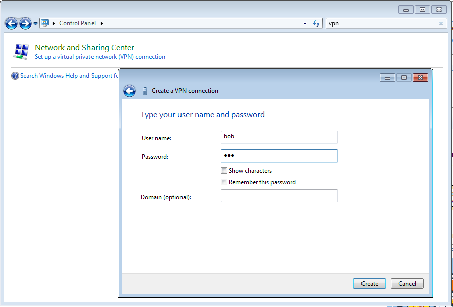 4 enter username and password and press create